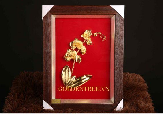 Tranh hoa lan mạ vàng